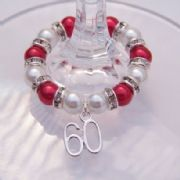 60th Birthday Wine Glass Charm - Full Sparkle Style